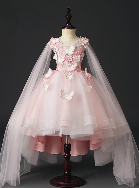 Looking For Gorgeous Pink Ball Gown Tulle Hi Lo V-neck Butterfly Appliques Flower Girl Dress