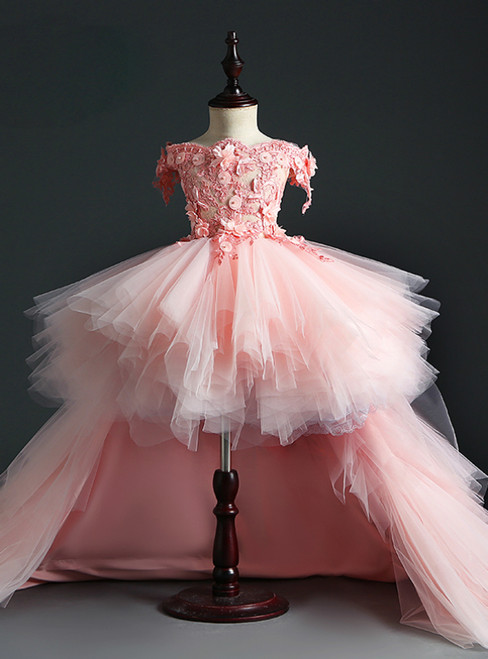 Shop Long Pink Ball Gown Tulle Hi Lo Off the Shoulder Appliques Tiers Flower Girl Dress