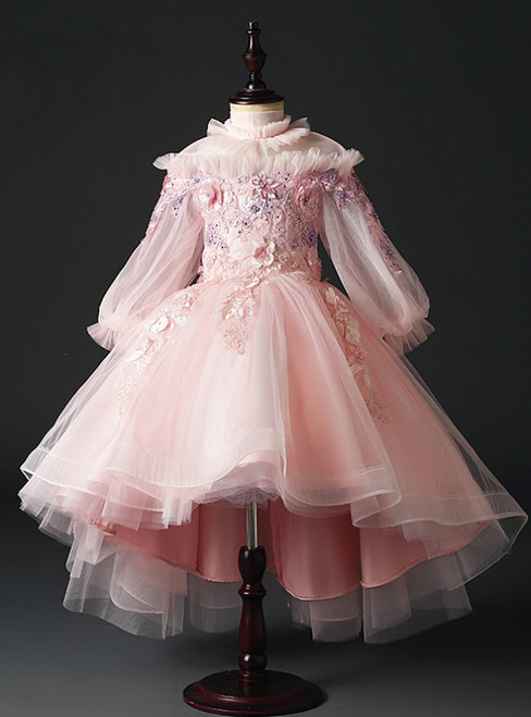 Buy The Newest Pink Ball Gown Tulle High Neck Long Sleeve Appliques Flower Girl Dress
