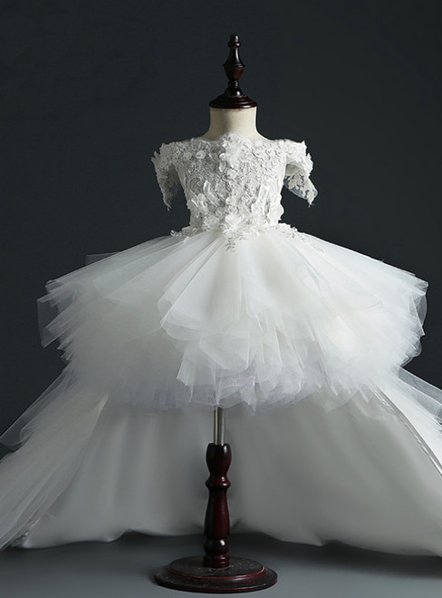 Be The Prom Queen In White Ball Gown Tulle Hi Lo Off the Shoulder Appliques Flower Girl Dress