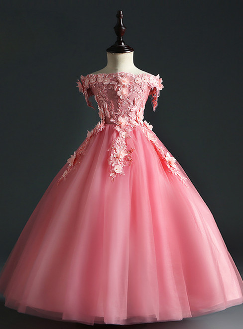 Shop Designer Pink Ball Gown Tulle off the Shoulder Appliques Long Flower Girl Dress