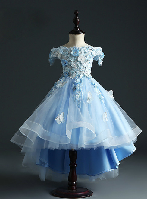 Never Miss Out On Sky Blue Ball Gown Tulle Hi Lo Off the Shoulder Appliques Flower Girl Dress