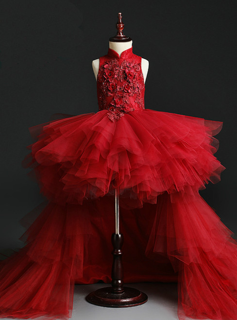 You Can Be The Star Burgundy Ball Gown Tulle High Neck Hi Lo Appliques Flower Girl Dress