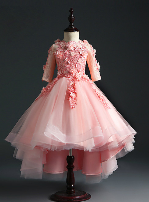 Find The Perfect Shade Of Pink Ball Gown Hi Lo Tulle Short Sleeve Appliques Flower Girl Dress