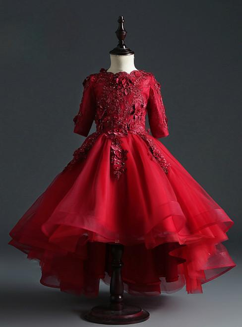Buy From Burgundy Ball Gown Tulle Short Sleeve Appliques Flower Girl Dress