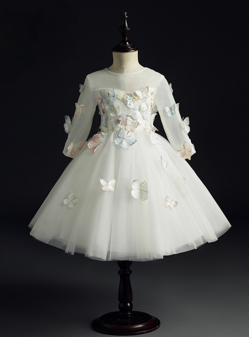 A Great Variety Of White Ball Gown Tulle Short Sleeve Butterfly Appliques Flower Girl Dress