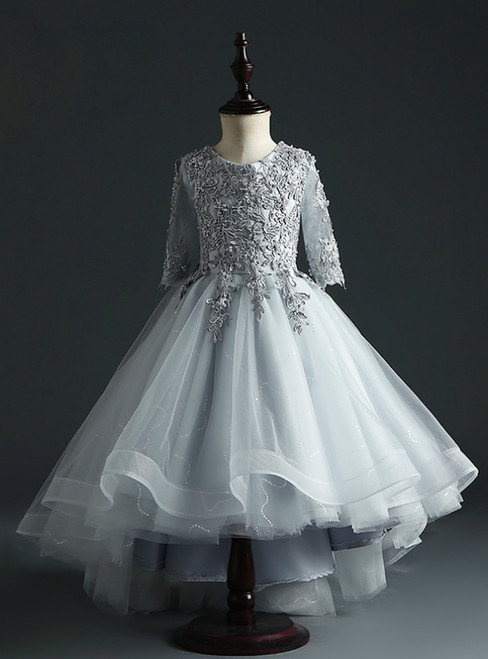 Demand Attention In Gray Tulle Ball Gown Hi Lo Appliques Short Sleeve Flower Girl Dress