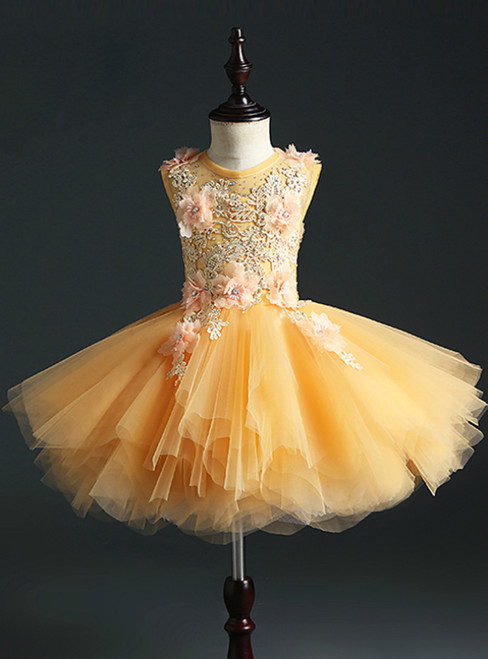 Gold Ball Gown Tulle Appliques Short Flower Girl Dress