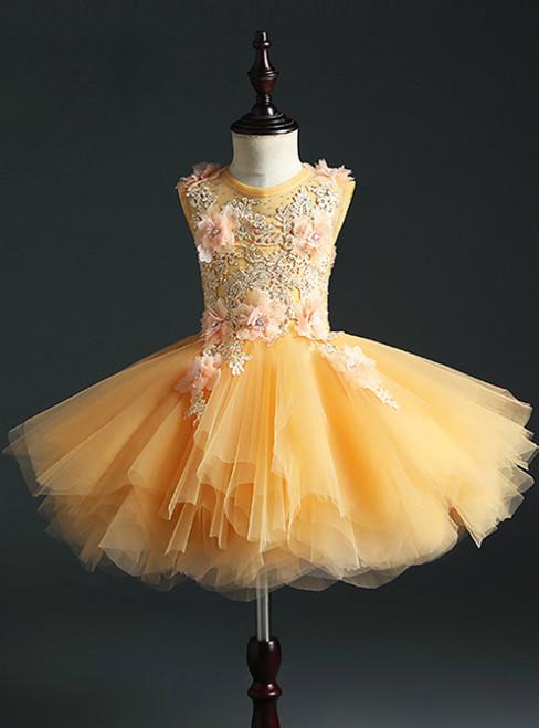 Gold Ball Gown Tulle Appliques Short Flower Girl Dress