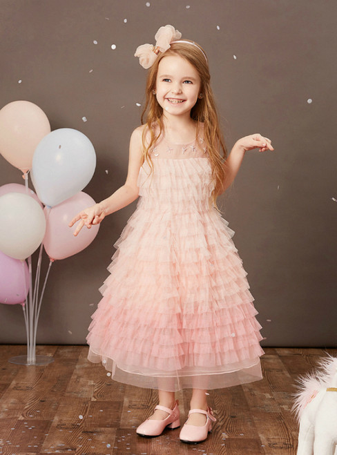 We Offer a Variety Of Pink Tulle Tiers Beading Ankle Length Flower Girl Dress