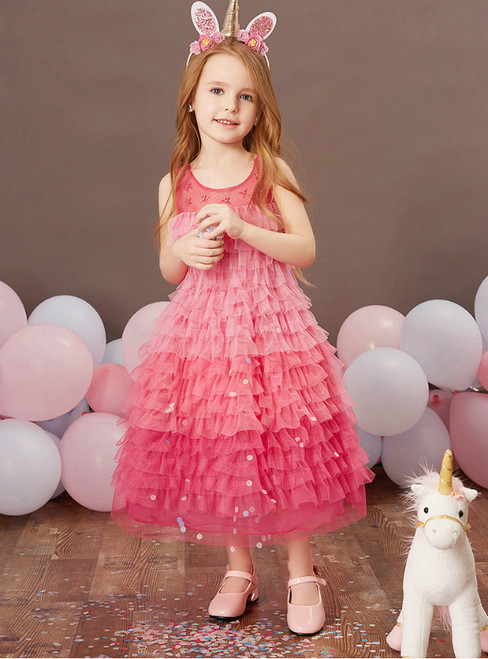 Best Discount And High Quality Fuchsia Tulle Tiers Beading Ankle Length Flower Girl Dress