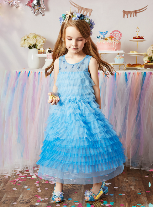 Discover The Latest Blue Tulle Tiers Beading Ankle Length Flower Girl Dress