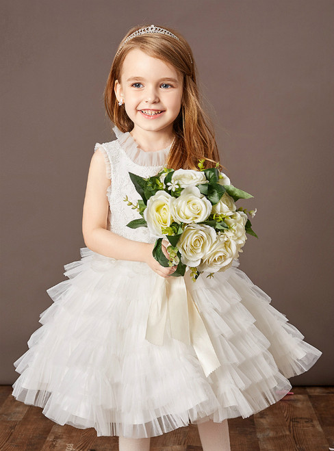 Purchase Your Favorite White Ball Gown Tulle Tiers Sleeveless Flower Girl  Dress