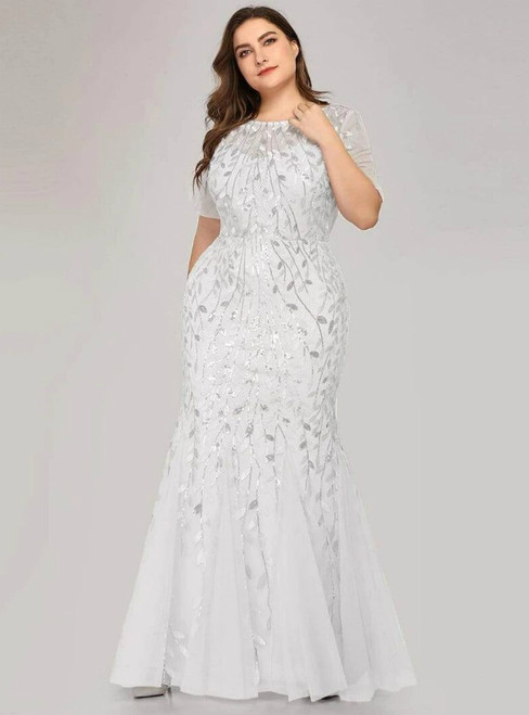 Find The Perfect Shade Of Plus Size White Mermaid Tulle Short Sleeve Sequins Prom Dress