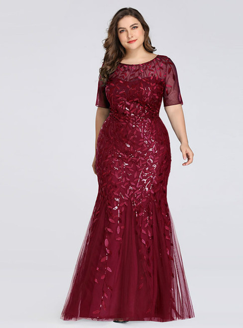 A Great Variety Of Plus Size Burgundy Mermaid Tulle Short Sleeve Sequins Prom Dress