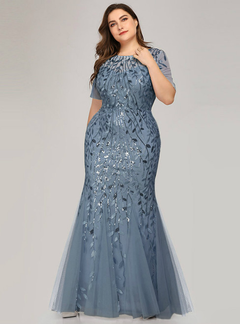 Demand Attention In Plus Size Blue Mermaid Tulle Short Sleeve Sequins Prom Dress