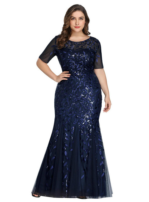 Order Your Ideal Plus Size Navy Blue Mermaid Tulle Short Sleeve Sequins Prom Dress