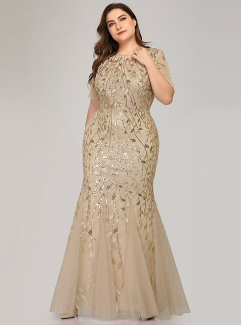 We Offer a Large Numbers Of Gold Mermaid Tulle Short Sleeve Sequins Plus Size Prom Dress