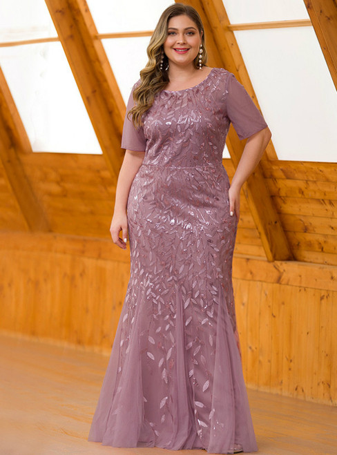We Offer a Variety Of Pink Mermaid Tulle Short Sleeve Sequins Plus Size Prom Dress