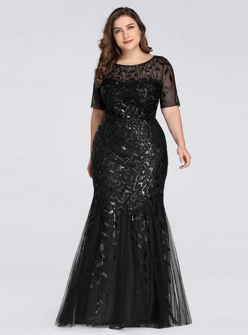 Best Discount And High Quality Black Mermaid Tulle Short Sleeve Sequins Plus Size Prom Dress