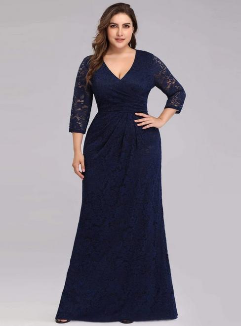 Discover The Latest Navy Blue Lace V-neck 3/ Sleeve Plius Size Prom Dress