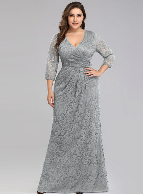 Purchase Your Favorite Gray Lace V-neck 3/ Sleeve Plus Size Long Prom Dress