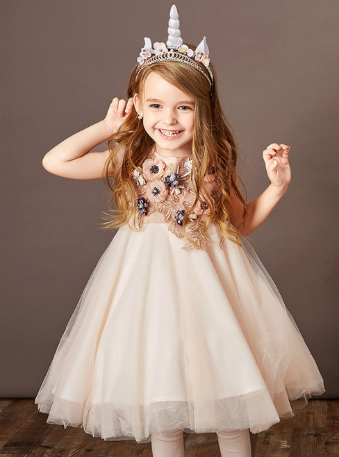 You Are Sure To Find The Perfect Orange Pink Tulle Appliques Beading Flower Girl Dress