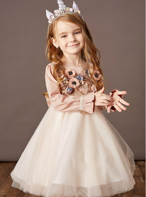The Worldwide Shipping Online Store Orange Pink Tulle Appliques Long Sleeve Beading Flower Girl Dress