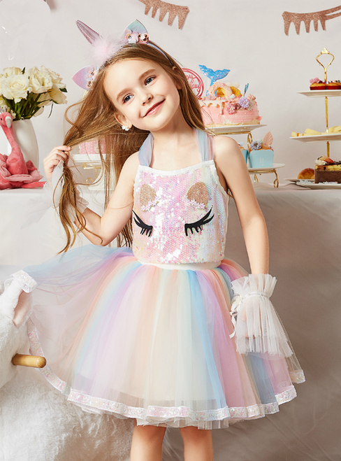 For Your Big Night Pink Two Piece Sequins Halter Top And Tulle Skirt Flower Girl Dress