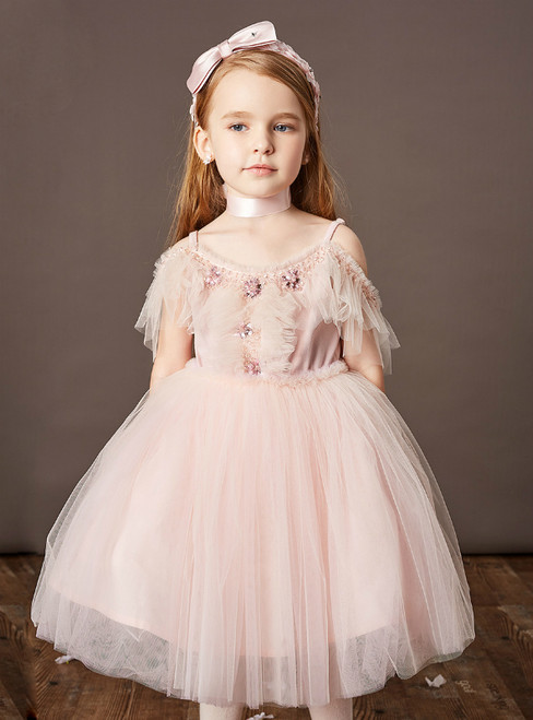 Available In Sizes 0-24 A-Line Pink Tulle Spaghetti Straps Seuqins Beading Flower Girl Dress
