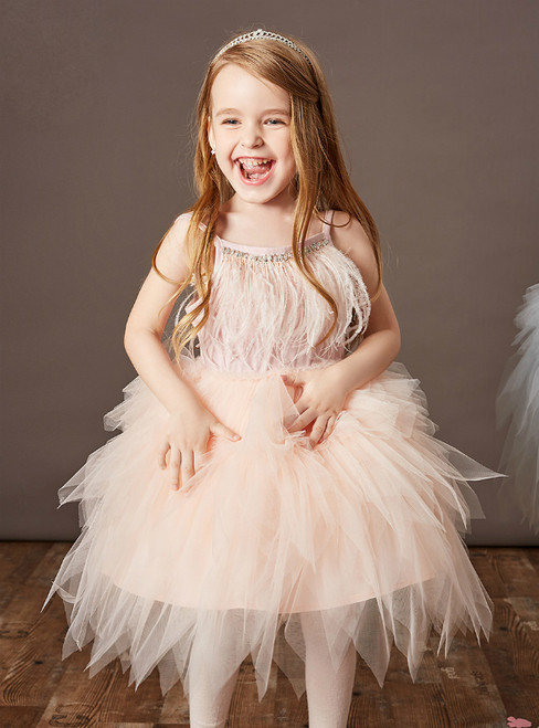 Come In All Styles And Colors White Tulle Spaghetti Straps Feather Beading Flower Girl Dress