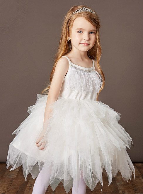 Find Your Dress For Prom! White Tulle Spaghetti Straps Feather Beading Flower Girl Dress
