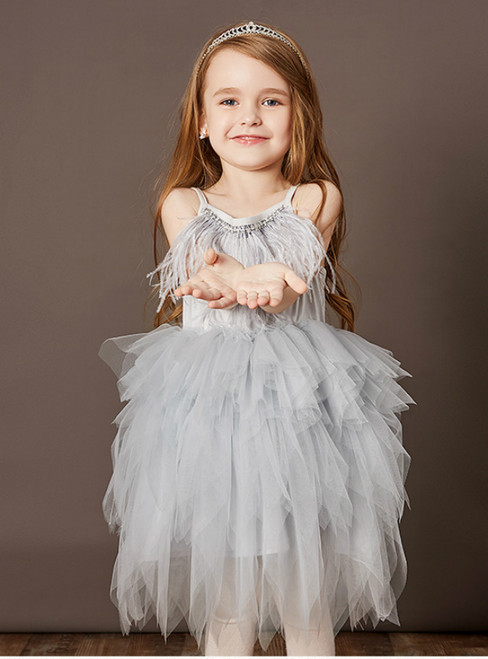 Best For You Gray Tulle Spaghetti Straps Feather Beading Flower Girl Dress