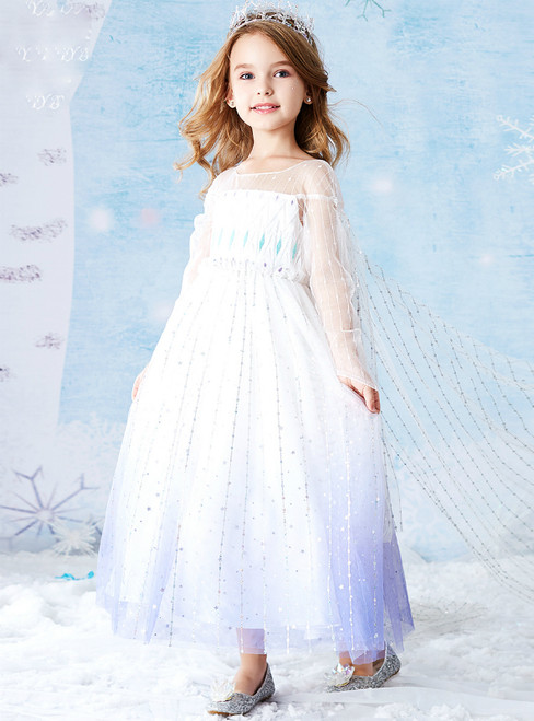 Is Now Available. Blue White Tulle Sequins Long Sleeve Flower Girl Dress