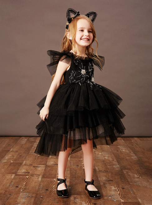 Shops Around The World Black Ball Gown Tulle Hi Lo Beading Flower Girl Dress