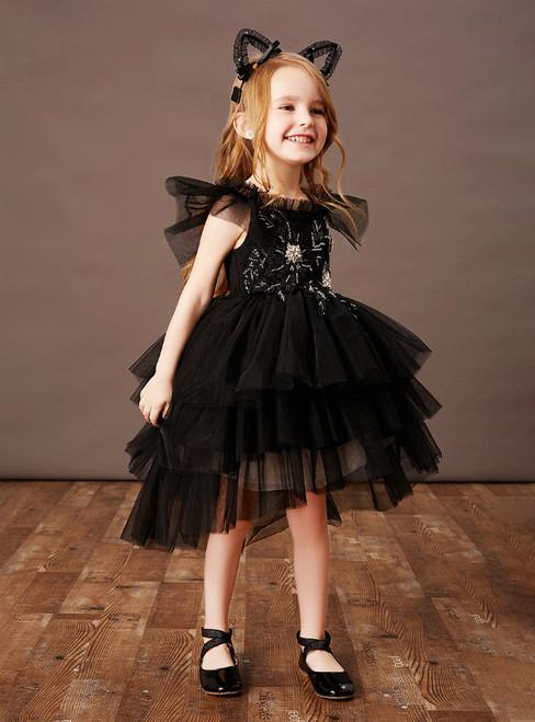 Shops Around The World Black Ball Gown Tulle Hi Lo Beading Flower Girl Dress