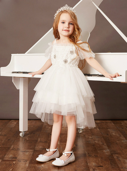 Check Out Entire Collection White Ball Gown Tulle Hi Lo Beading Flower Girl Dress