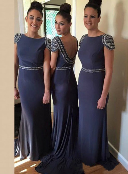 Dark Blue Bridesmaid Dress with Cap Sleeves  Beaded Bateau Bridesmaid Dresses