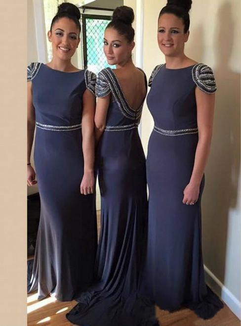 Dark Blue Bridesmaid Dress with Cap Sleeves  Beaded Bateau Bridesmaid Dresses