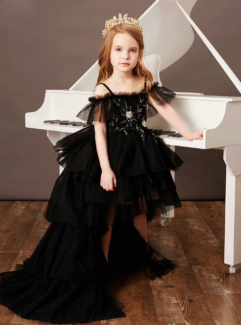 For This Year's Biggest Dance Black Ball Gown Tulle Hi Lo Beading Flower Girl Dress With Train