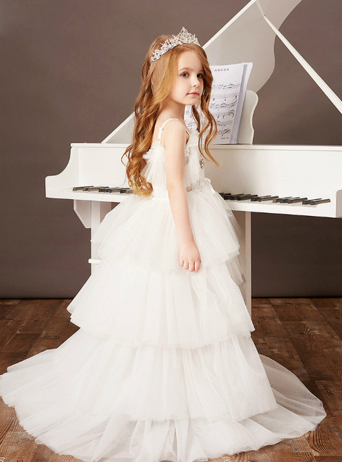 Get Your Discounts White Ball Gown Tulle Hi Lo Beading Flower Girl Dress With Train