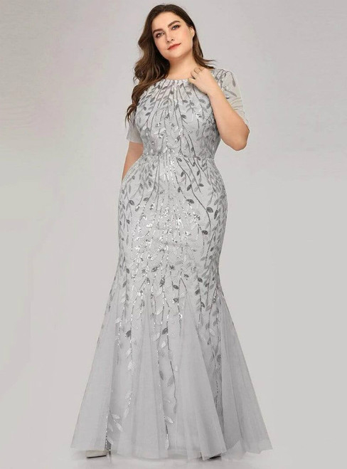 Make Your Prom a Dream Silver Gray Mermaid Tulle Short Sleeve Sequins Plus Size Prom Dress
