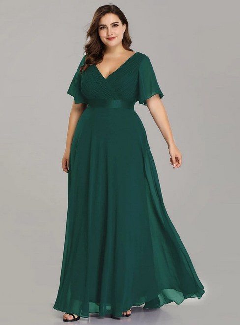 To Choose From Dark Green Chiffon V-neck Pleats Horn Sleeve Plus Size Prom Dress
