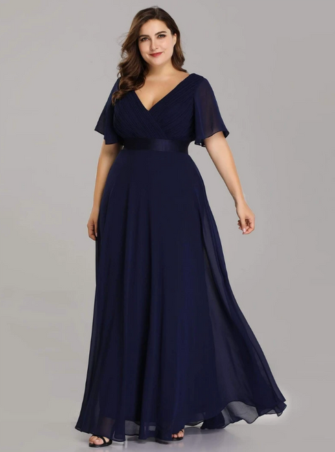 You'll Always Remember Wearing Navy Blue Chiffon V-neck Pleats Horn Sleeve Plus Size Prom Dress