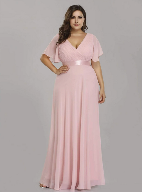 For The Very Best In Unique Or Custom. Light Pink Chiffon V-neck Pleats Horn Sleeve Plus Size Prom Dress