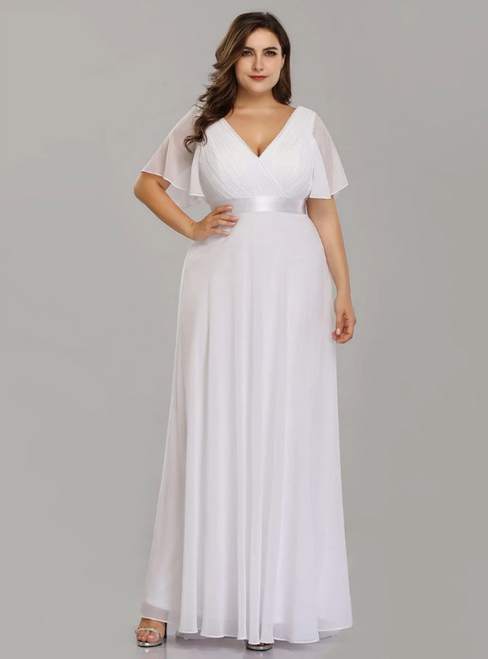 In Figure Flattering Styles For Every Silhouette White Chiffon V-neck Pleats Horn Sleeve Plus Size Prom Dress
