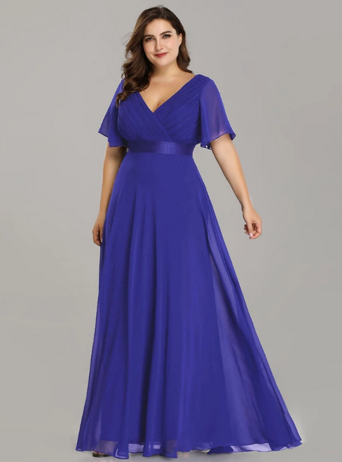 At Incredible Price Sapphire Blue Chiffon V-neck Pleats Horn Sleeve Plus Size Prom Dress