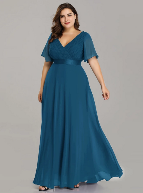 To Fit Your Style Teal Chiffon V-neck Pleats Horn Sleeve Plus Size Prom Dress
