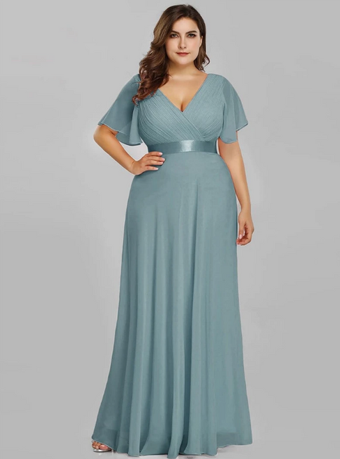 Come In a Wide Variety Of On-Trend Styles, Dusty Blue Chiffon V-neck Pleats Horn Sleeve Plus Size Prom Dress