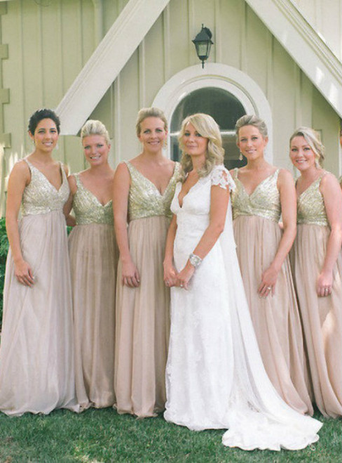 Sparkly Bridesmaid Dresses V-Neck Bridesmaid Dress A-line bridesmaid dress